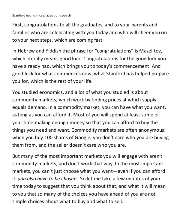 Sample Graduation Speech Example   Documents In Word Pdf
