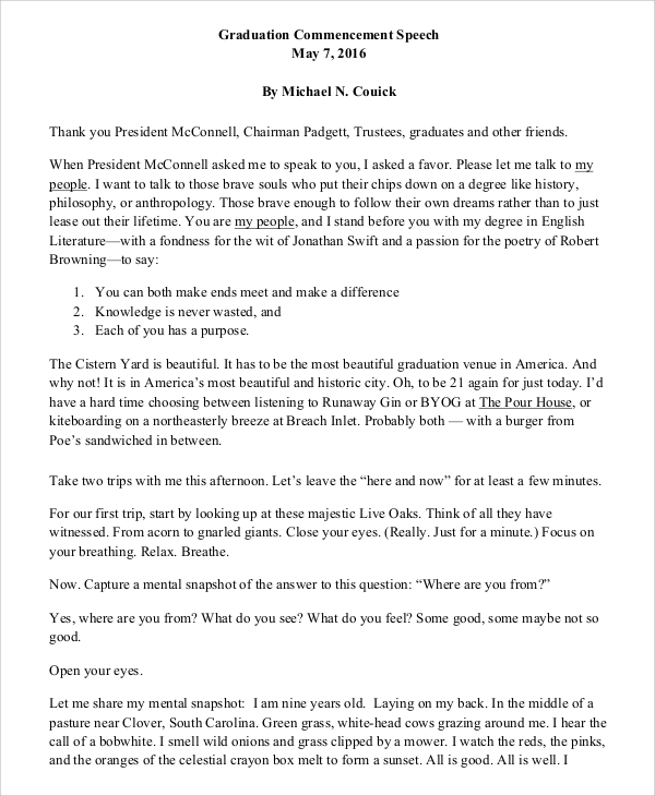 valedictorian speech template - 9 sample graduation speech examples pdf word sample