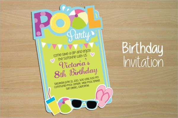 awesome pool party invitation template