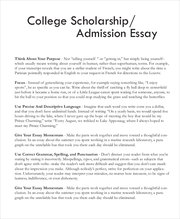 Lovely Sample Scholarship Essay Documents In Pdf Word