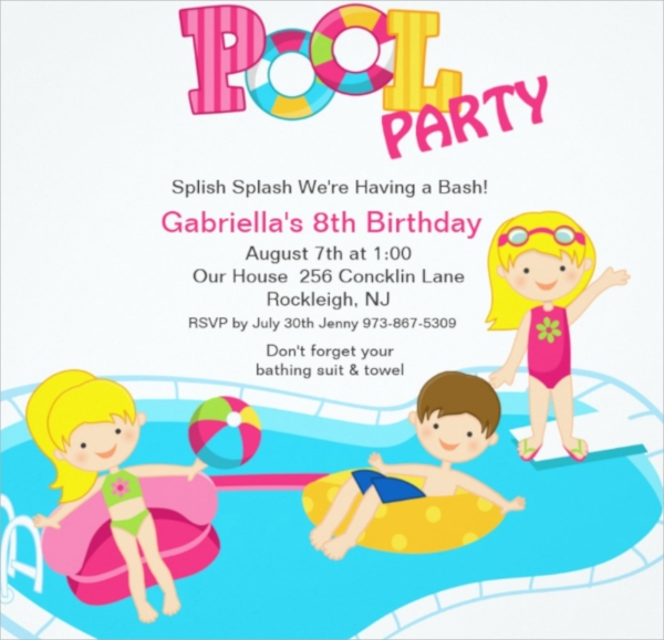 girls pool party flyer template