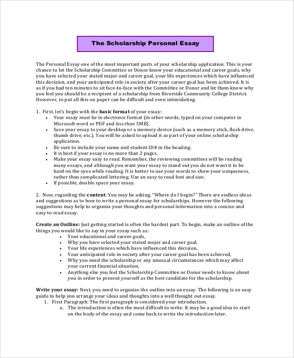 Sample Scholarship Essay   Documents In Pdf Word