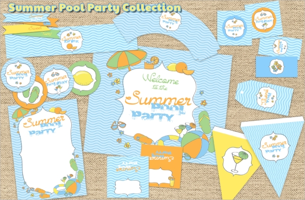 collection of pool party invitations