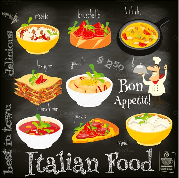 8 sample italian menus psd vector eps for Artistic cuisine menu