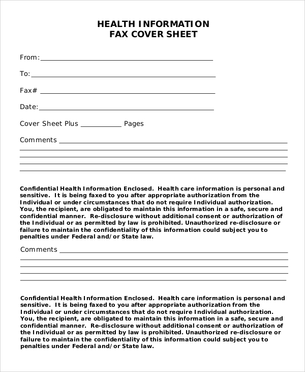 confidential health information fax cover sheet
