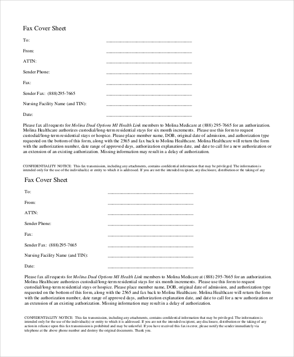 confidentiality notice fax cover sheet