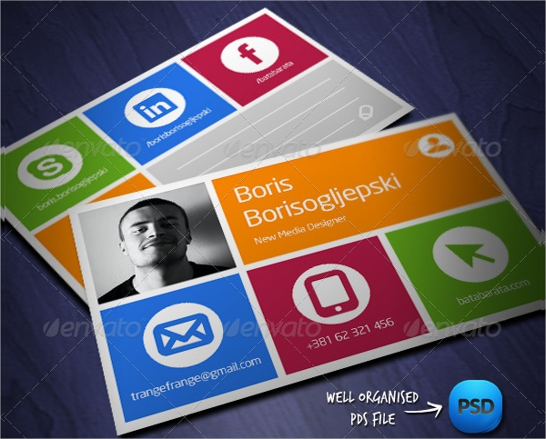 social media visit card template