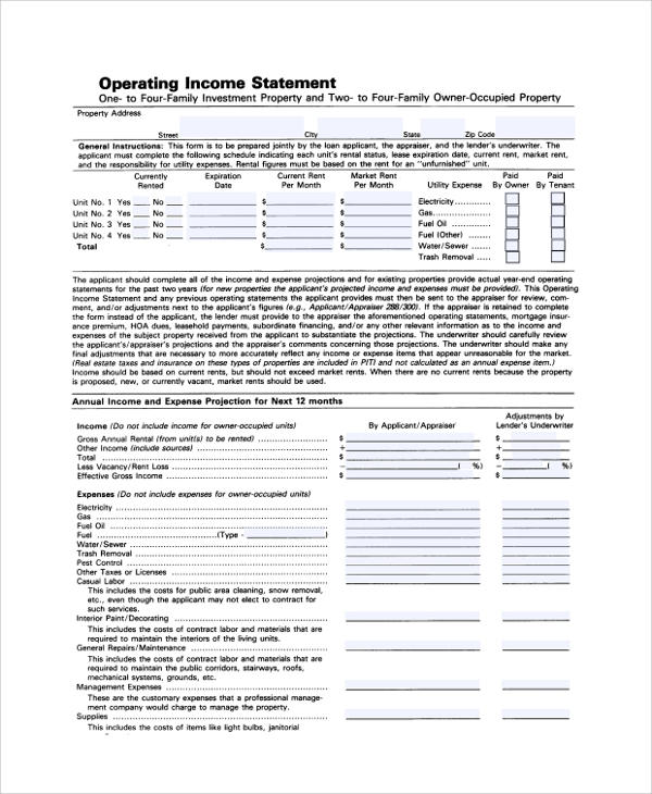 operating income statement