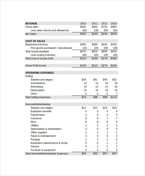 sample income statement