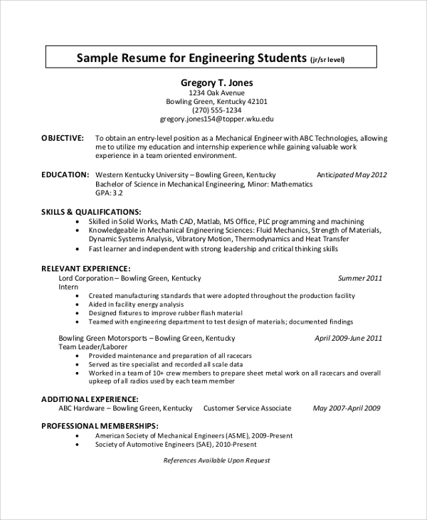 engineering student cv sample