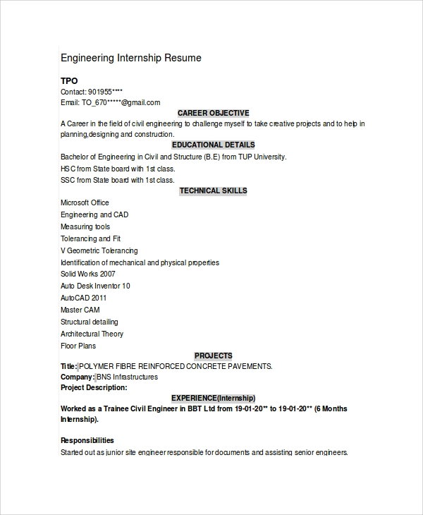 Sample Engineering Cv - 7+ Documents In Pdf, Word