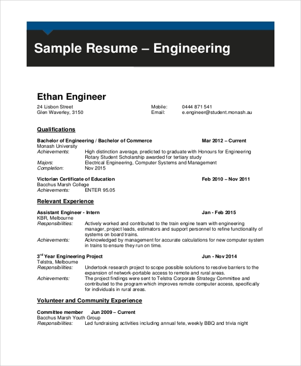 sample engineering cv 7 documents in pdf word