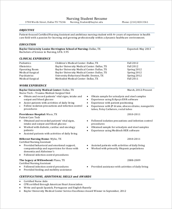 Sample Student Resume 7 Documents in PDF Word – Nursing Student Resume