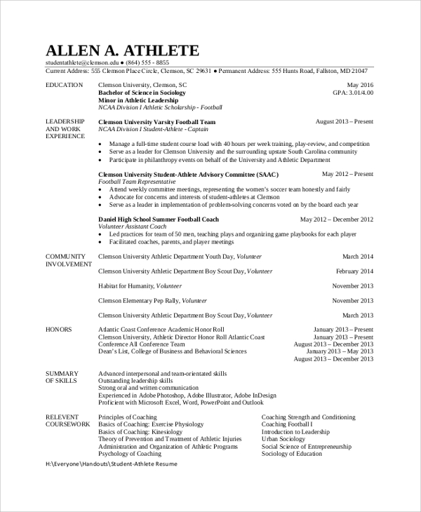 Sample Student Resume   Documents In Pdf Word