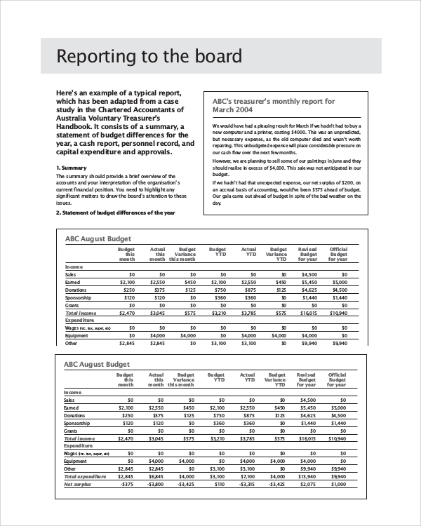 Sample Board Report   Documents In Pdf