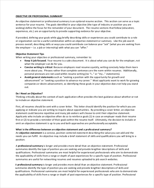 Human Resources Job Objective Statement  Professional Objective
