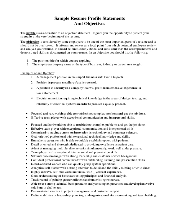 resume profile statement objective - Sample Resume Profiles