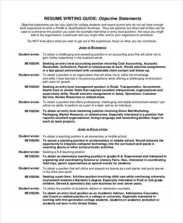8 Objective Statement Resume Samples: Sample Job Objective Statement