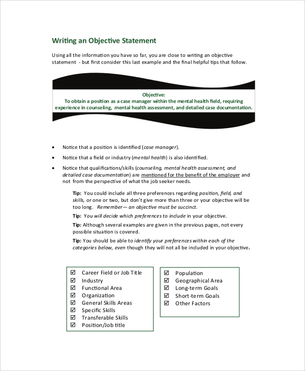 Sample Job Objective Statement 7 Documents in PDF Word – Job Objective Statement