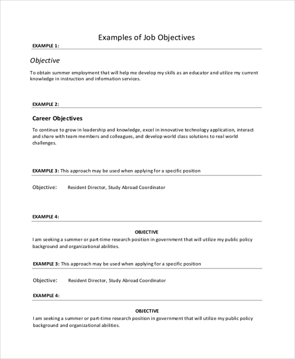 example of job objective statement