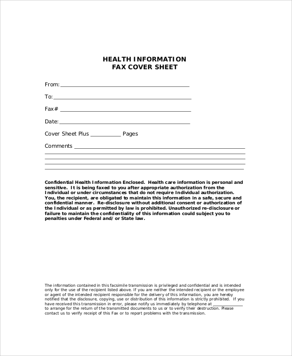 Generic Health Information Fax Cover Sheet  Fax Sheet Template