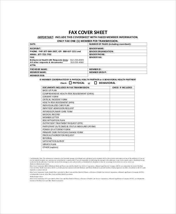 professional generic fax cover sheet