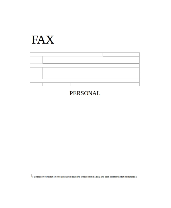 Sample Generic Fax Cover Sheets   Documents In Pdf Word