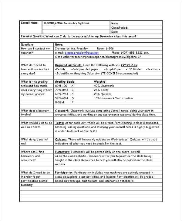 Sample Cornell Note. Geometry Cornell Note Sample Cornell Note ...