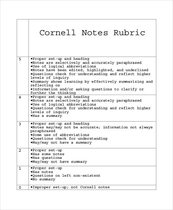 rubric cornell note