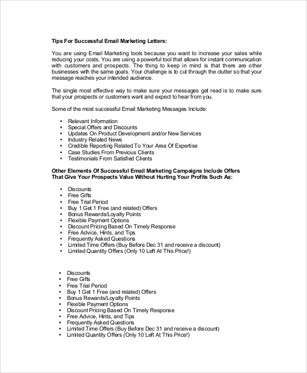 email marketing letter sample