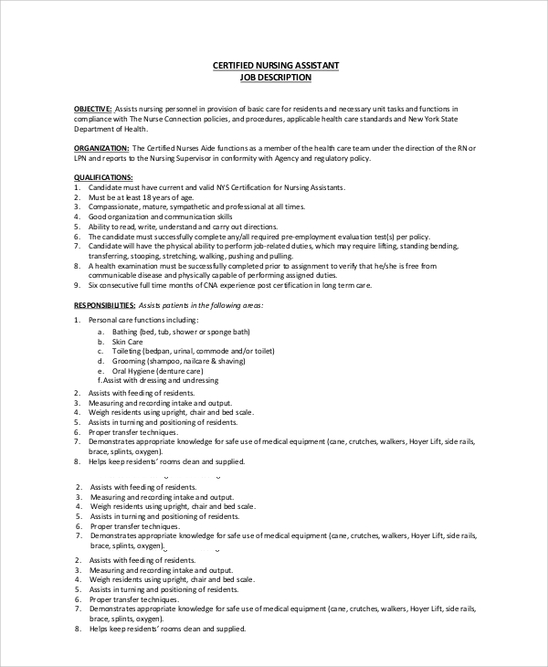 sample cna job duties - 7+ documents in pdf, word, Human Body