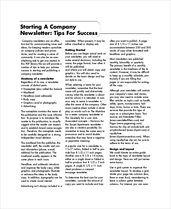 Sample Company Newsletters - 5+ Documents In Pdf