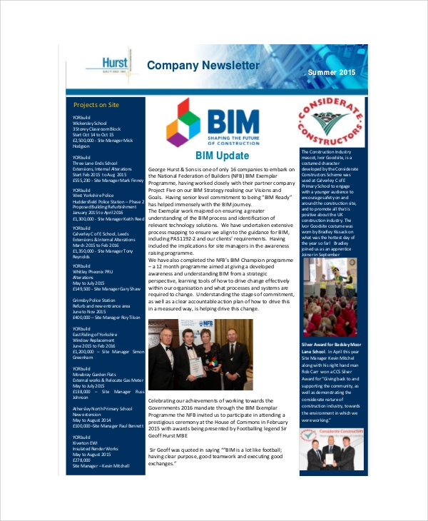 Sample Company Newsletters   Documents In Pdf