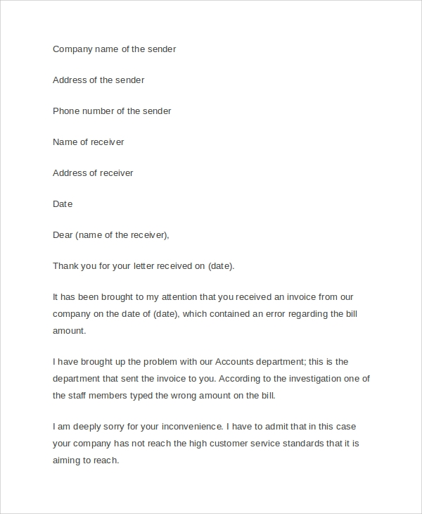 Sample Business Apology Letter 5 Designs Examples