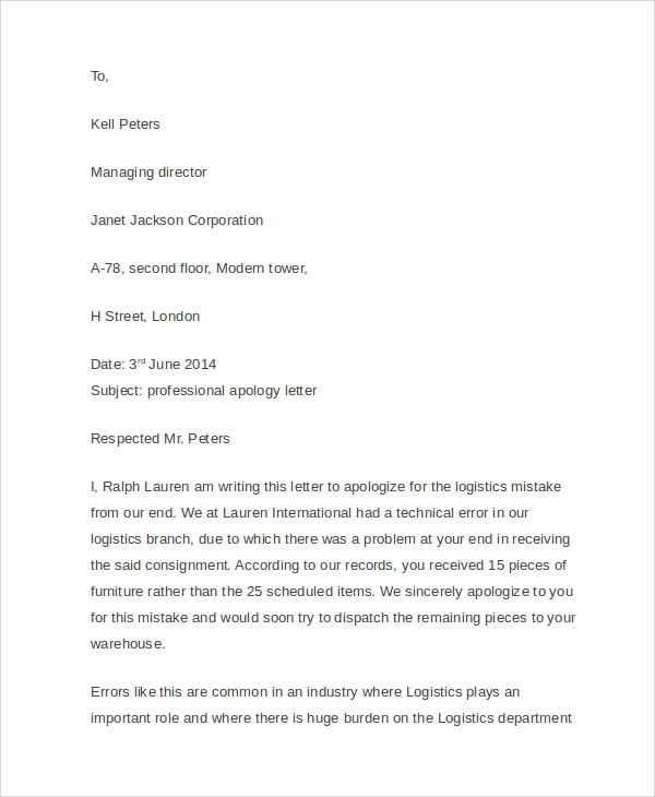 Sample business apology letter 5 designs examples professional business apology letter spiritdancerdesigns Images