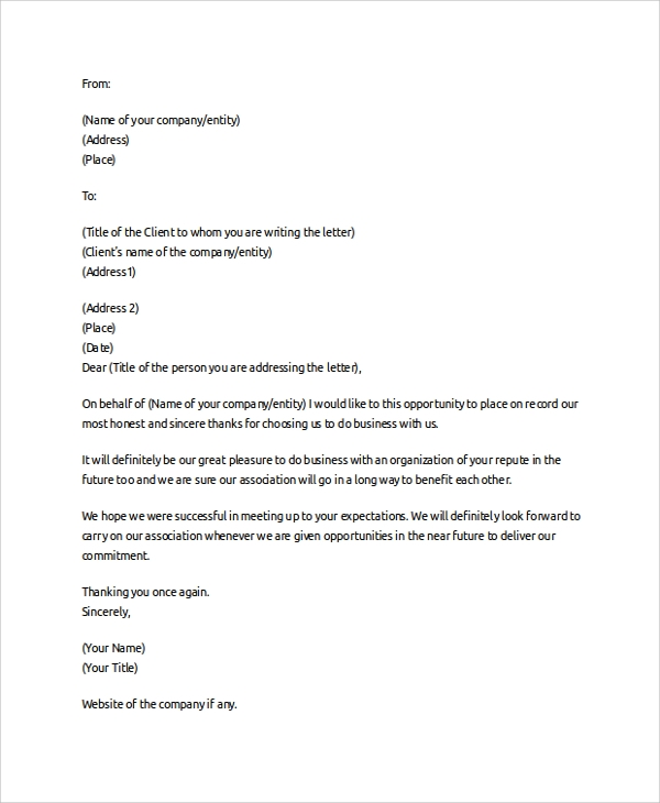 Business Thank You Letter