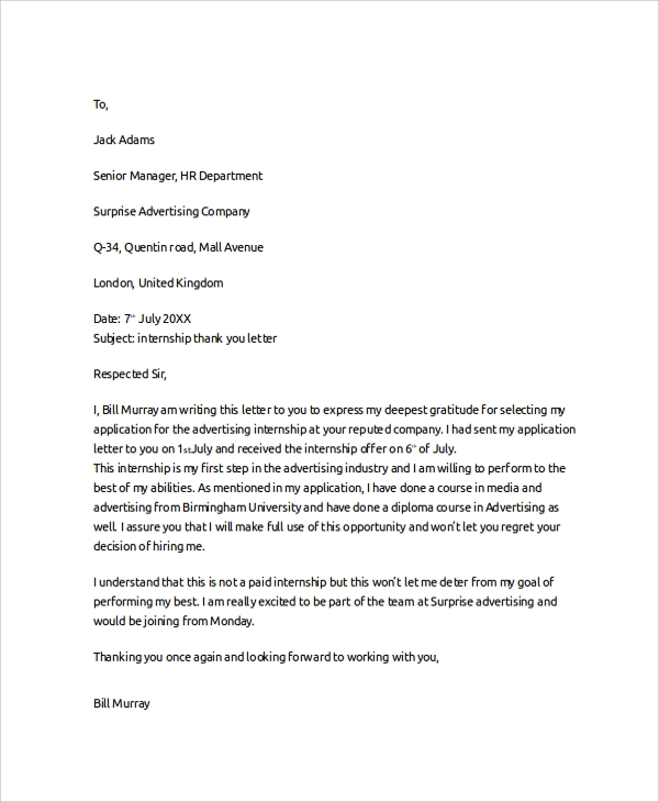 Sample Thank You Letter   Documents In Pdf Word
