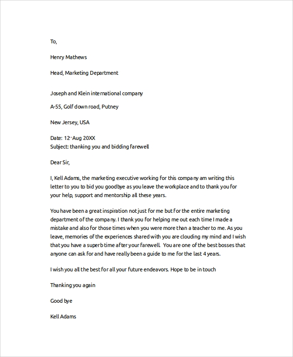 boss thank you farewell letter