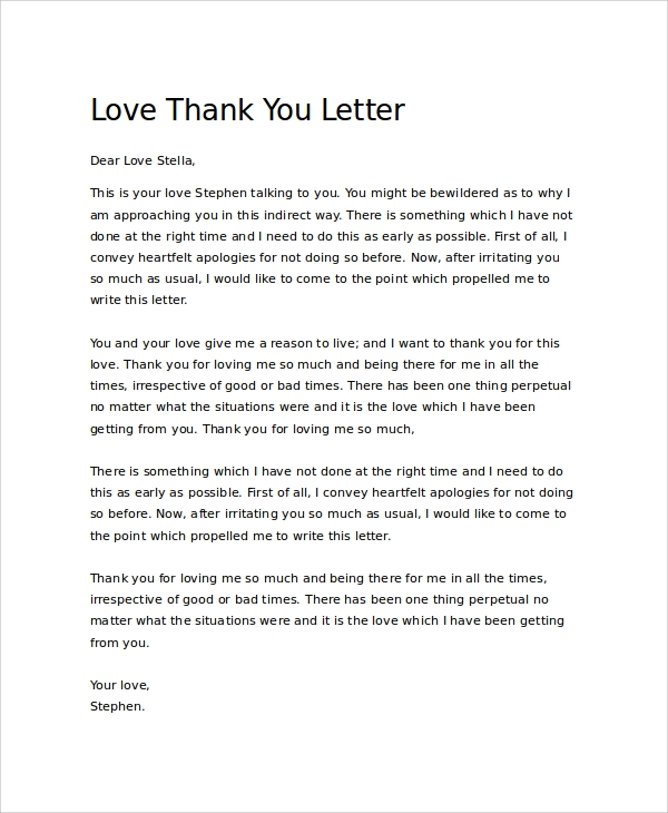 love thank you letter