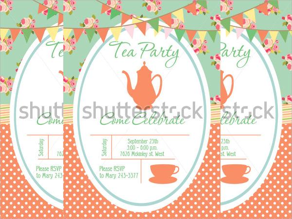 tea party invitation card template