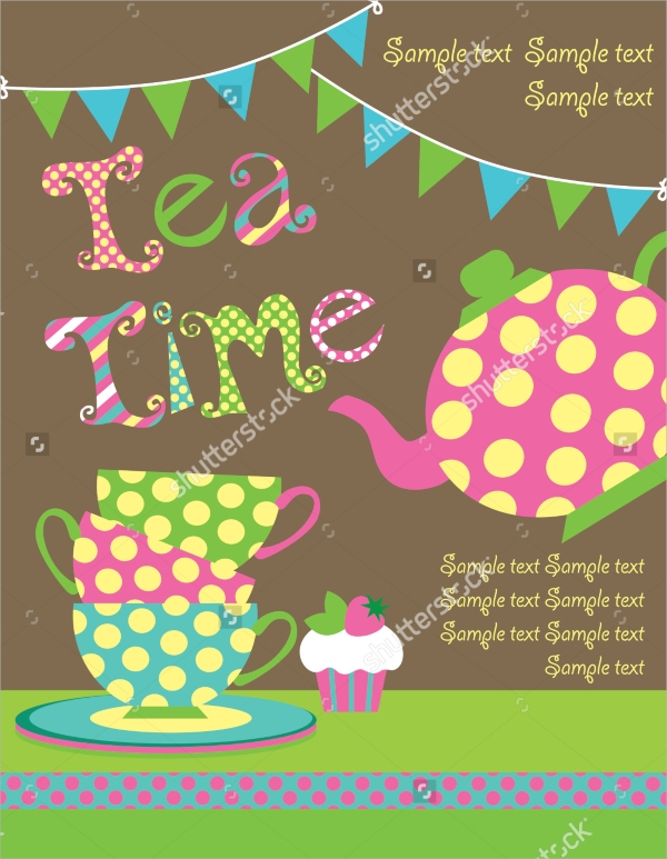 tea party card vector illustration