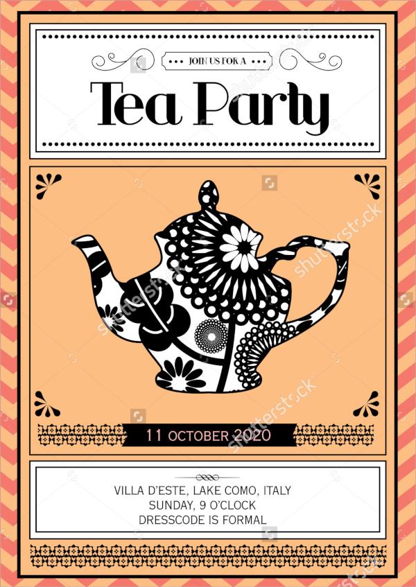 vintage tea party invitation illustration