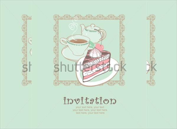 cake and tea party invitation