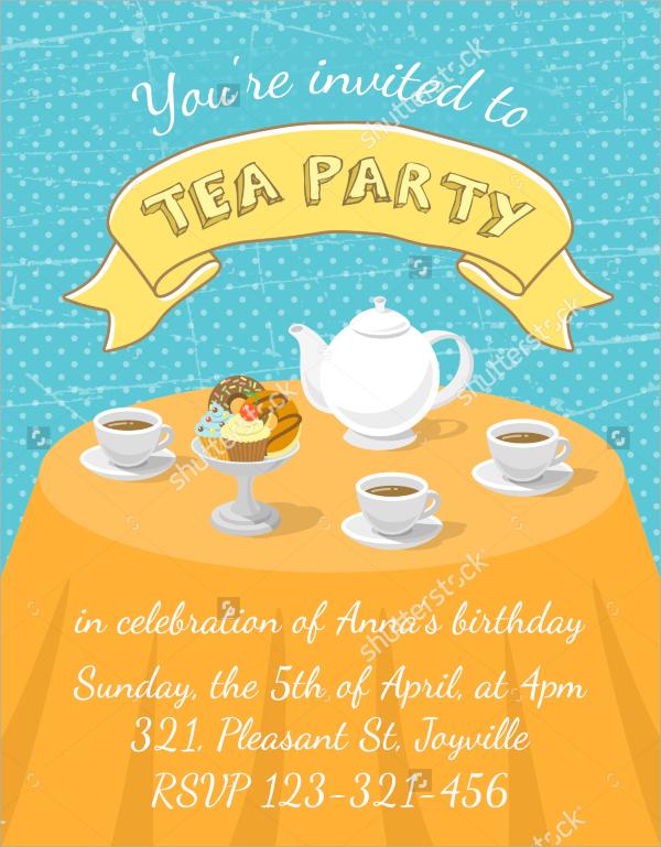 vector tea party invitation template
