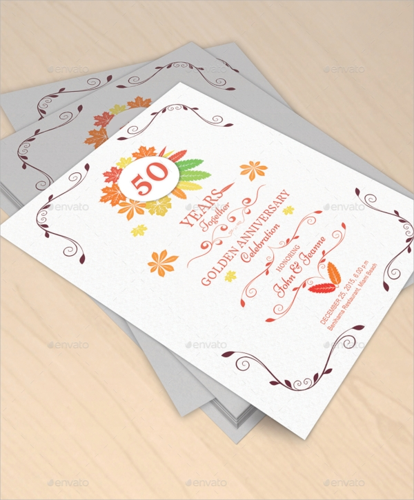 autumn anniversary invitation template