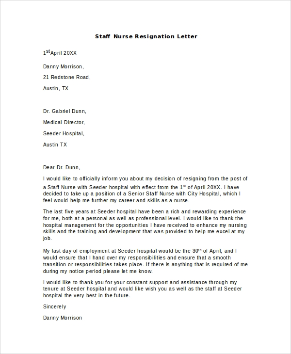 Sample Nursing Resignation Letter 6 Documents in PDF Word – Nursing Resignation Letter