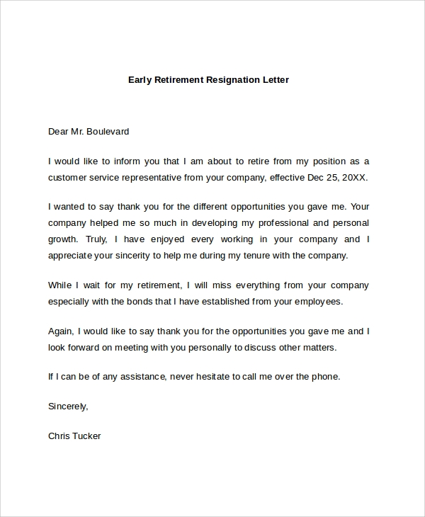 early retirement resignation letter. Resume Example. Resume CV Cover Letter