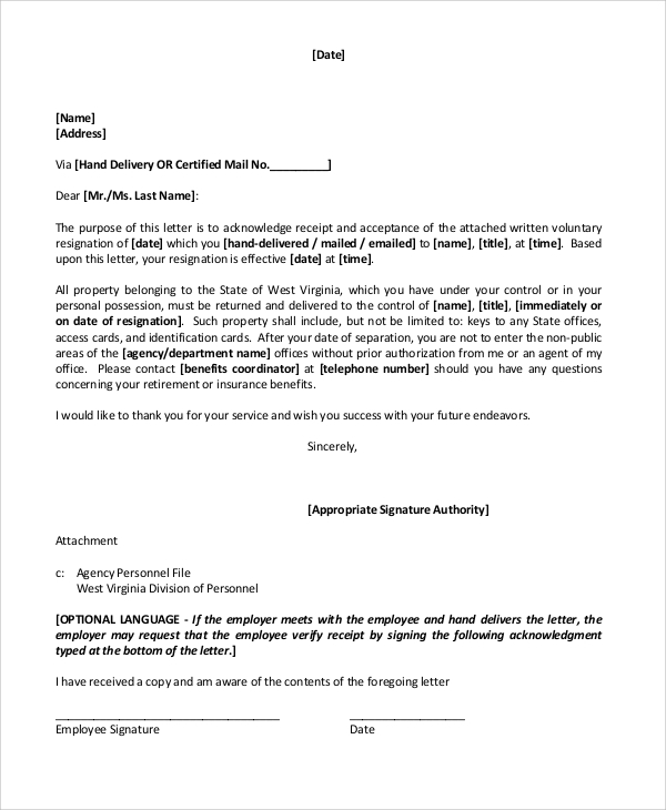Retirement Resignation Acceptance Letter  Letter Of Retirement