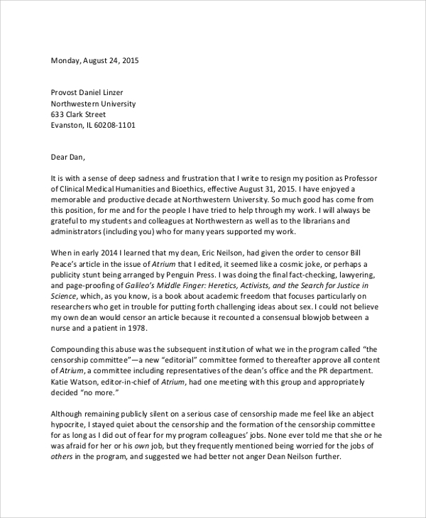 Resignation Letter Samples  Templates  Free Word Pdf Format