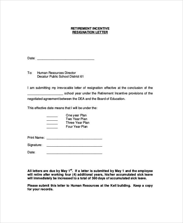 retirement incentive resignation letter - How To Write A Letter Of Resignation Due To Retirement